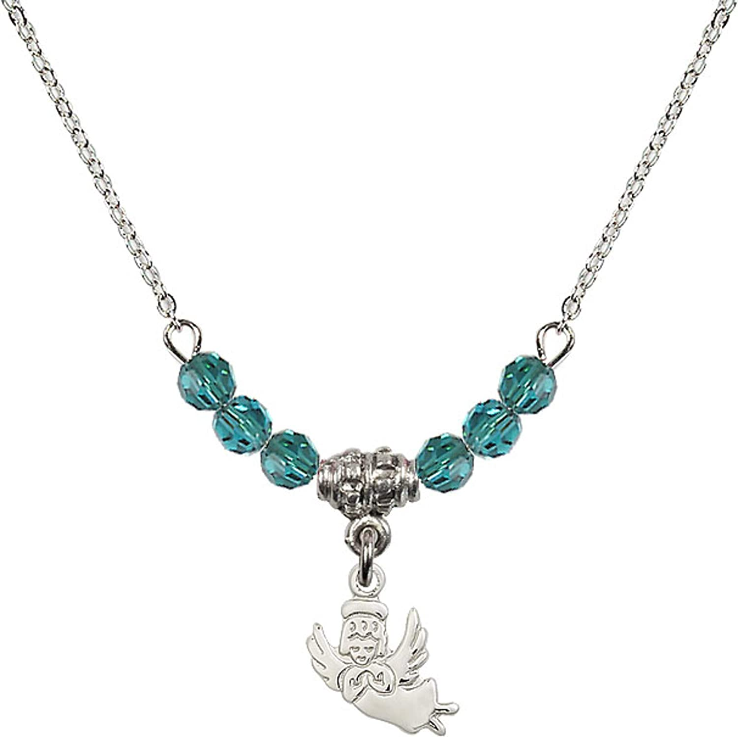 Bonyak Jewelry 18 Inch Rhodium Plated Necklace w// 4mm Blue December Birth Month Stone Beads and Guardian Angel Charm