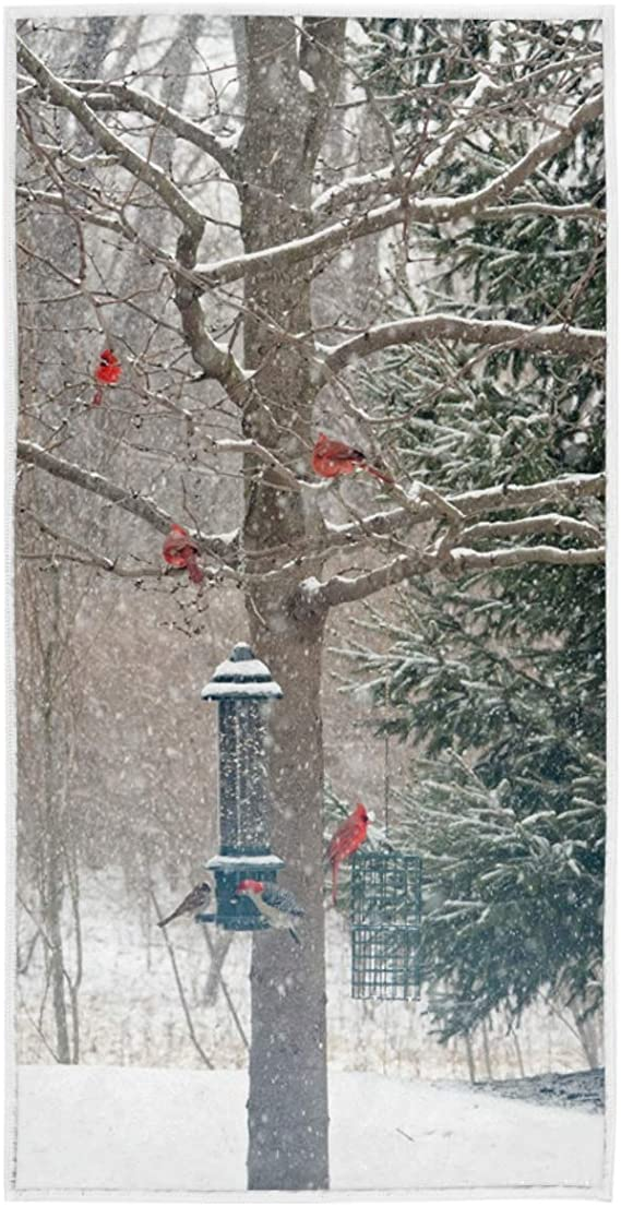 Cardinals Red Bird Holly Berry Branches Snow Hand Towels 16x30 in Christmas Winter Bathroom Towel Ultra Soft Highly Absorbent Small Bath Towel Xmas Bathroom Decor Gifts