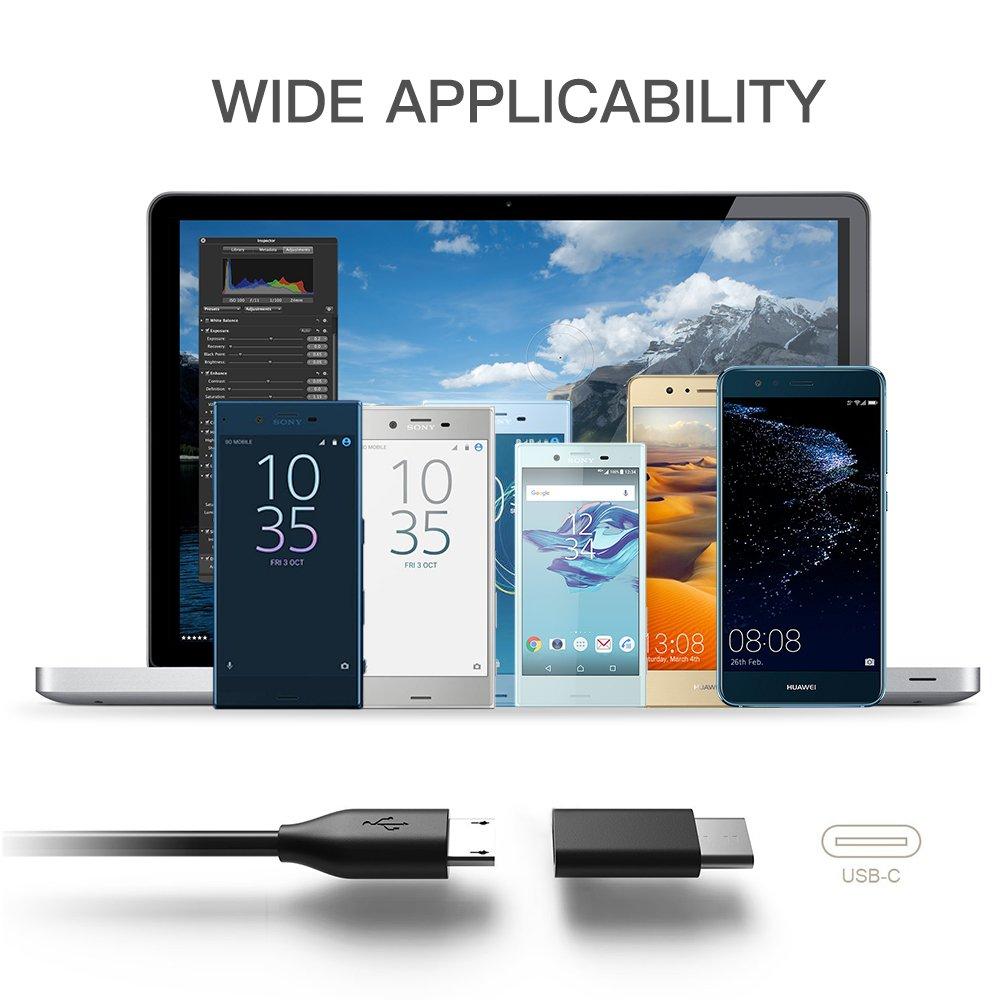 TUCNIPUS [3 Pack] USB C Adapter,Micro USB to USB C Adapter,Type C Adapter für MacBook ,Galaxy S8/S8,Huawei P10/P9 und weitere -Schwarz