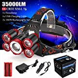 Tiean New 35000LM 5x XM-L T6 LED Rechargeable 18650 Headlamp Head Light Zoomable Torch (Red)
