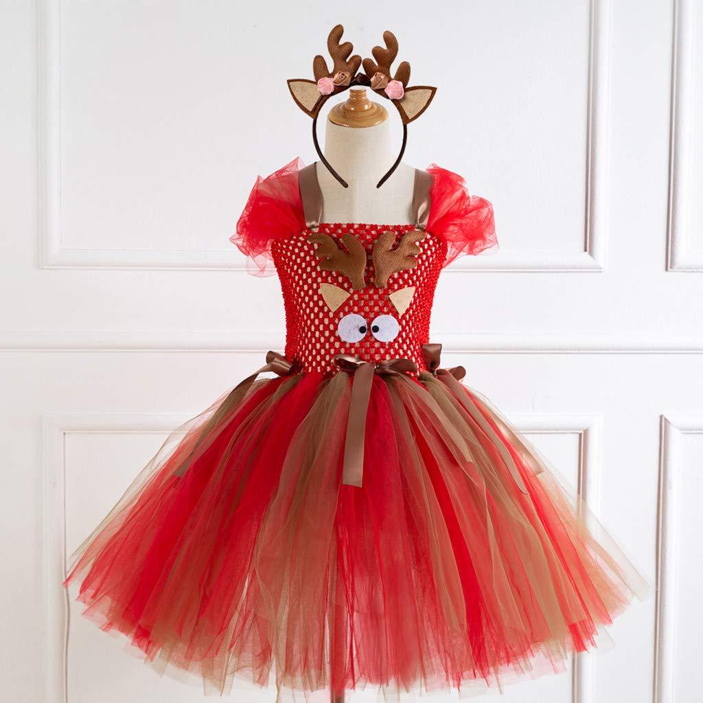 Juego de Aro de Pelo Ceremonia Navidad Elk Regalo en Oferta Oto/ño Tefamore Ropa Navidad Invierno para Ni/ña Fiesta Vestido Tut/ú Corta Princesa Bebe Ni/ña Conjuntos de Faldas