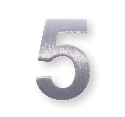 Metal de número 5, acero inoxidable cepillado - Altura de 4 ...