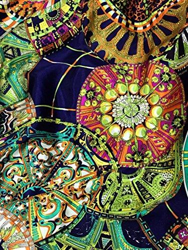 Circle North Light Pattern Print Faux Silk Satin Fabric 48