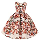 Kids Dream Little Girls Red Floral Jacqaurd Pearl Trim Occasion Dress 2