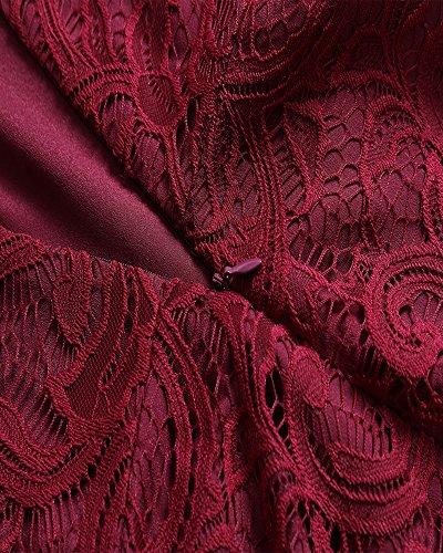 Col AnyuA Dentelle De Pour V Robe Mariage Ceinture Cocktail Robe Femme Vin Rouge Manches Sans Avec rxpxBRX