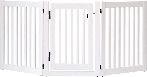 Dynamic Accents Amish Craftsman Highlander Series Solid Wood Pet Gates are Handcrafted 32 High – 3 Panel Walk Through White