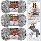 Bernat Softee Chunky Yarn, Super Bulky #6, 3 Skeins Grey Heather 28046 Bundle