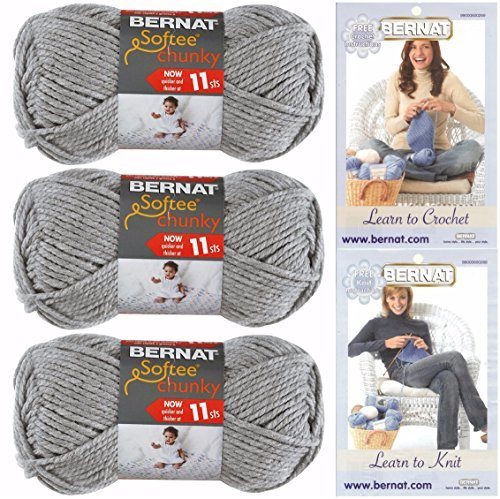 Bernat Softee Chunky Yarn, Super Bulky #6, 3 Skeins Grey Heather 28046 Bundle by Bernat