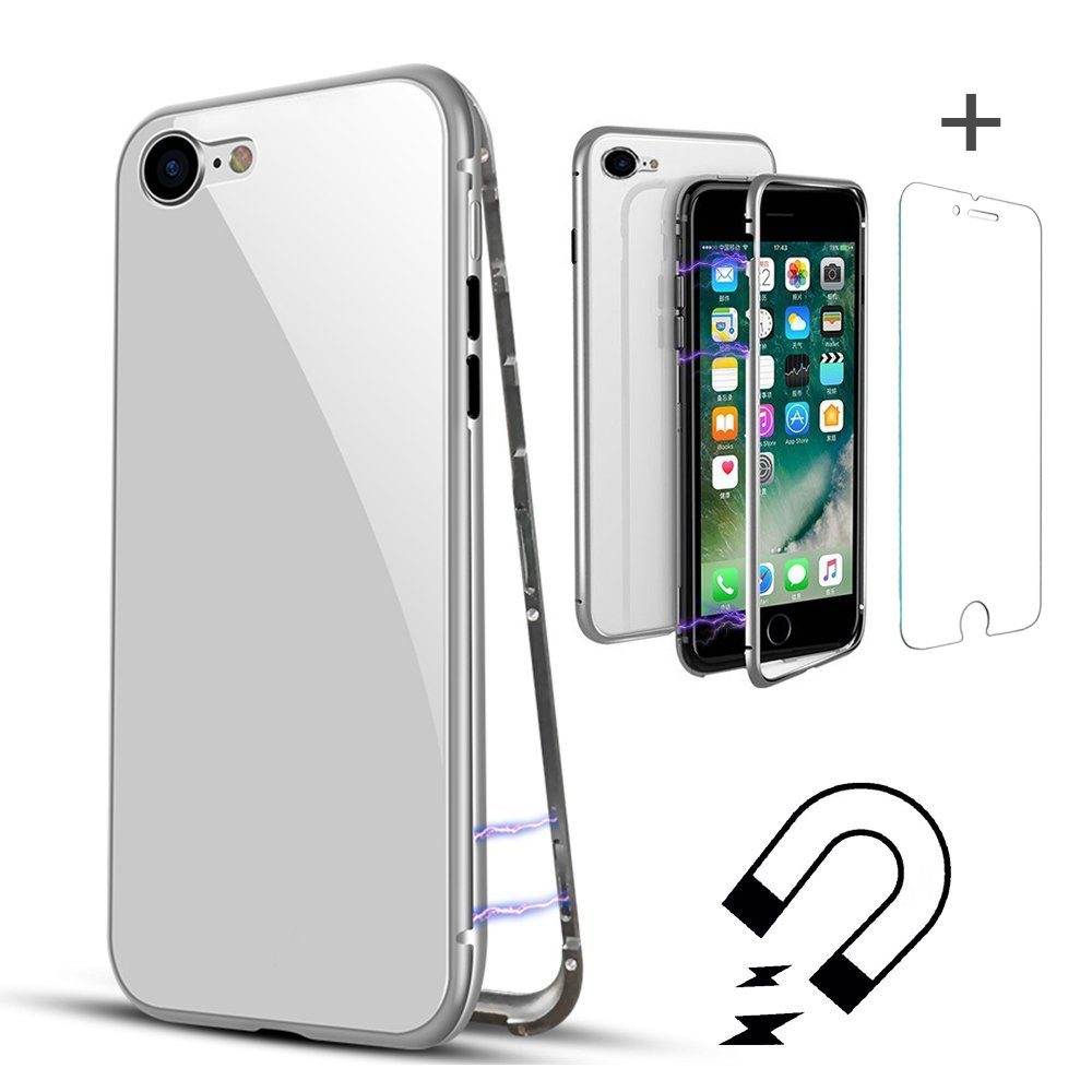 QLTYPRI iPhone 7 8 Metal Case, Magnetic Adsorption Case Aluminum Frame Bumper [Tempered Glass Screen Protector][Support Wireless Charging] 9H Tempered Glass Back Flip Cover - Full White