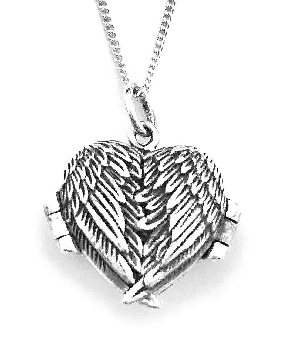 Chaîne de 45, 7 cm avec médaillon ailes d\'ange en forme de cœur qui s\'ouvre en 3 parties - Argent sterling 925 Monica 15060581350122