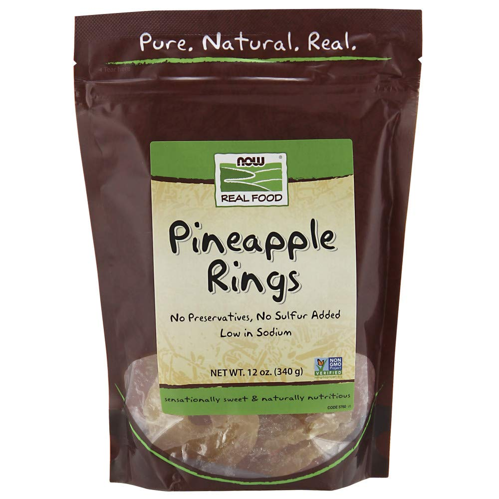 NOW Foods, Pineapple Rings, No Preservatives or Added Sulfur, Low-Sodium, 12-Ounce