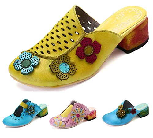 gracosy Zapatillas de Cuero para Mujer, Sandalias Block Heel Mule Zapatos para Mujer de Verano
