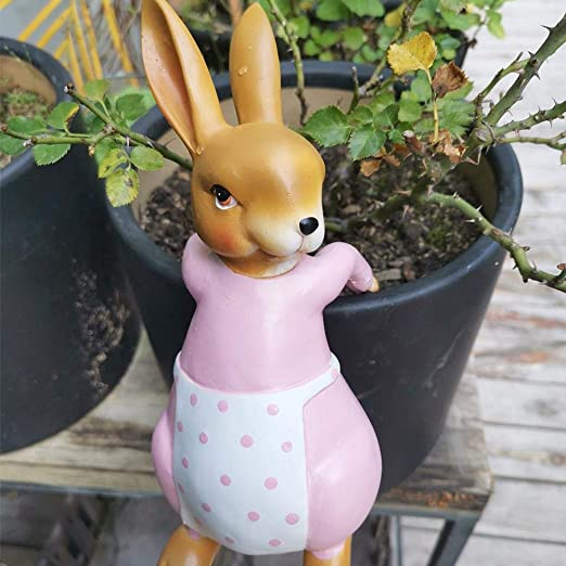 in miniatura confezione da 13 conigli per casa delle bambole di Pasqua vaso per piante allaperto statuine in resina Ornamenti da giardino in miniatura accessori da giardino a forma di coniglio