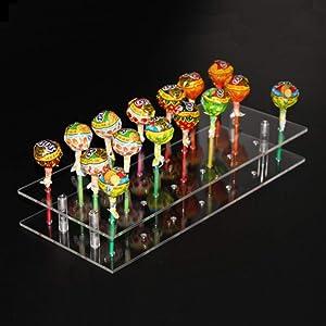 TRANSHOME 20 Hole Lollipop Stand Acrylic Display Shelf Cake Pop Holder(20 Hole)