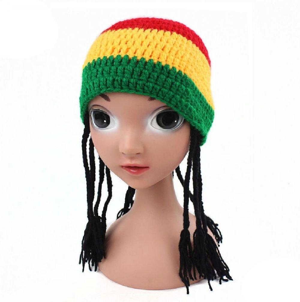 jupitson Rasta Hat with Dreadロックロングブラックヘアのガールズ   B078YK7XLJ