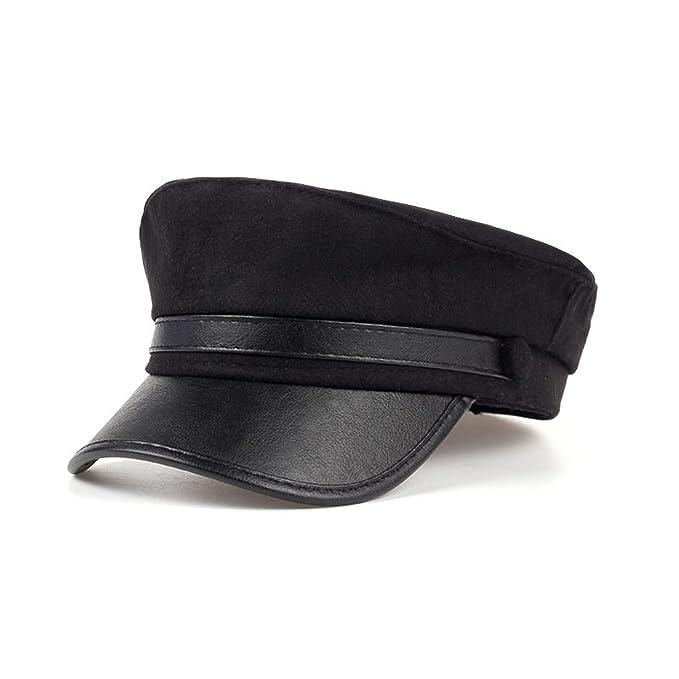 Amazon.com  Newest Unisex Leather Visor Military Caps for Man Woman ... 1e832f404c6