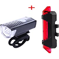 Auveach USB Rechargeable Bike Light Set Bicycle Headlight, Tail light, LED Water Resistant Front Light, Easy To Install…