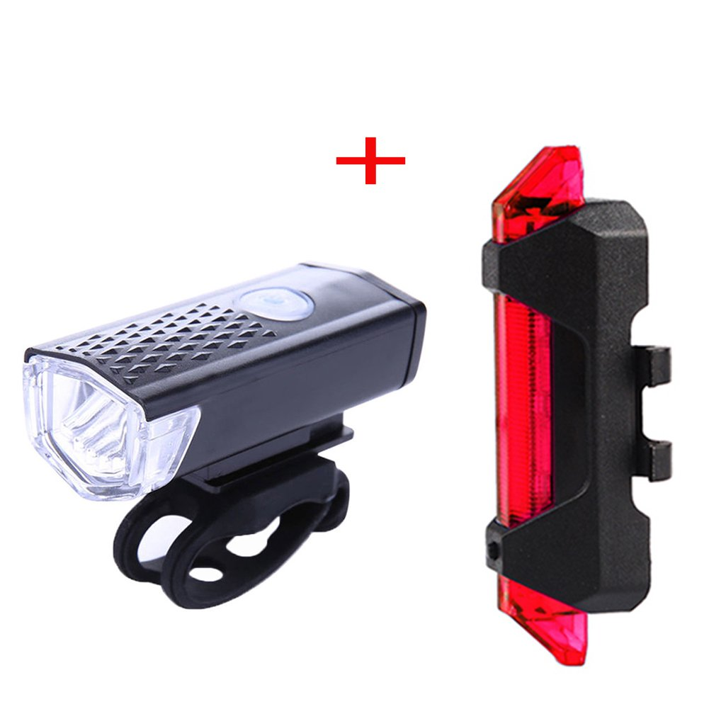 TR.OD USB Rechargeable Bike Light Set Bicycle Headlight, Tail light, LED Water Resistant Front Light, Easy To Install for Kids Men Women Cycling Safety Flashlight, Set B Black HITTIME