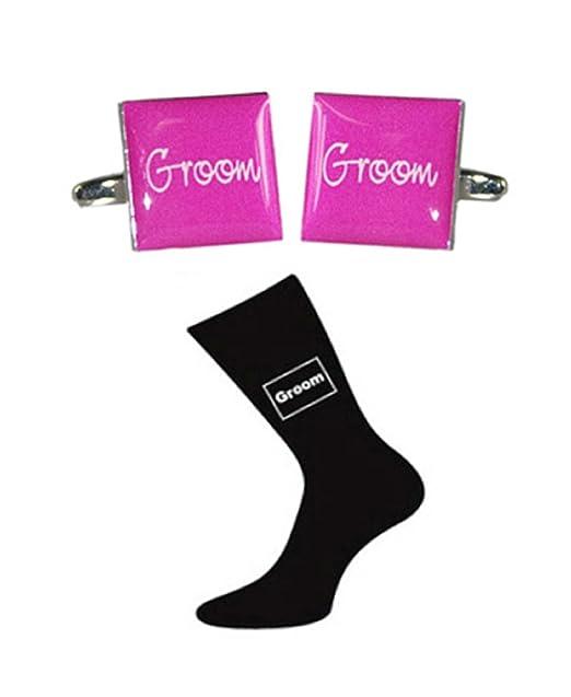 Novio rosa cuadrado mancuernas de la boda y calcetines negros ...