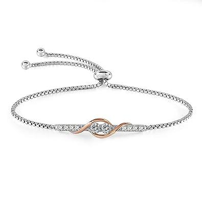 Bracelet pour femme avec cristaux Swarovski plaqué argent et cuivre