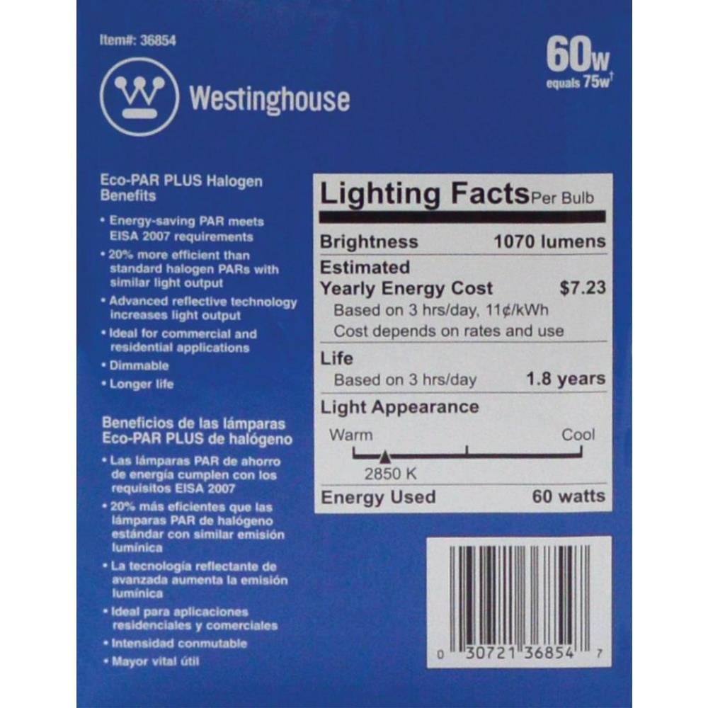 Westinghouse 3685400 60 Watt PAR30 Long Neck Eco-PAR Plus Halogen Flood Reflector Clear Light Bulb (2-Pack) - - Amazon.com