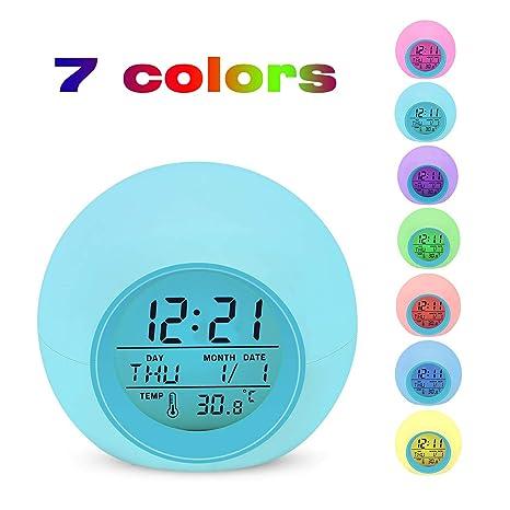 Despertador Digital Electrónico, Lypumso Reloj Alarma con 7 Colores Luz de Noche, Pantalla LED
