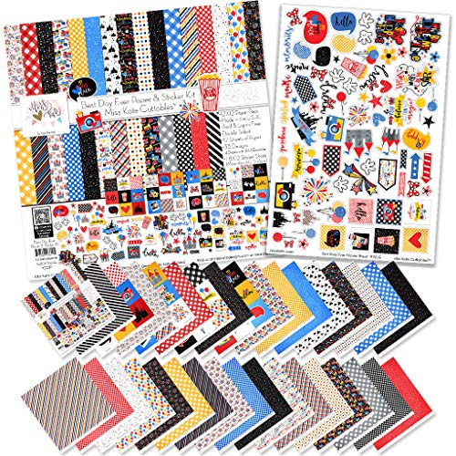 Paper & Sticker Kit - Best Day Ever for Disney - 17 Double-Sided 12x12 Papers with 33 Designs & 1 8X12 Sticker Sheet - Scrapbooking Card Making Crafting - by Miss Kate Cuttables