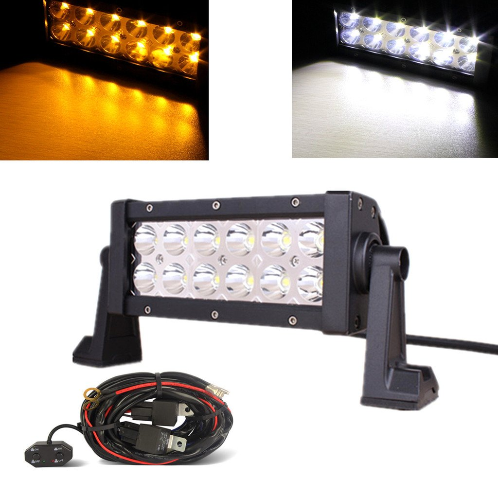 Mictuning 75 36w Amber White Led Work Light Bar Spot Flood Combo Spotlights Wiring Harness High Intensity Lamp Fog Lights Driving With Customized On Off Switch