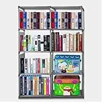 Cosway Kids Plastic Bookshelf Portable 4 Shelf Multifunctional Bookcase Adjustable Heights[US Stock] (Grey)