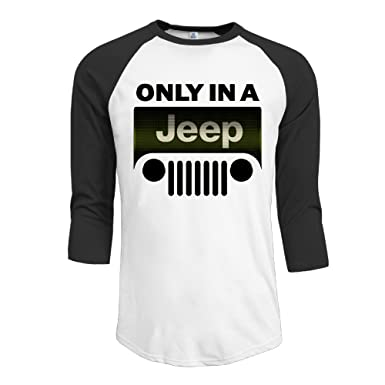 Amazoncom NKJIHIO Mens Only In A Jeep Logo Raglan Sleeve T - Jeep logo t shirt