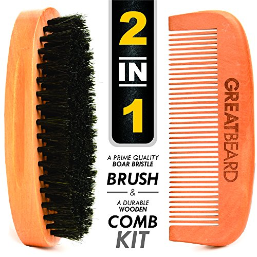 beard brush comb kit for men with wild boar bristles for easy grooming use with beard. Black Bedroom Furniture Sets. Home Design Ideas