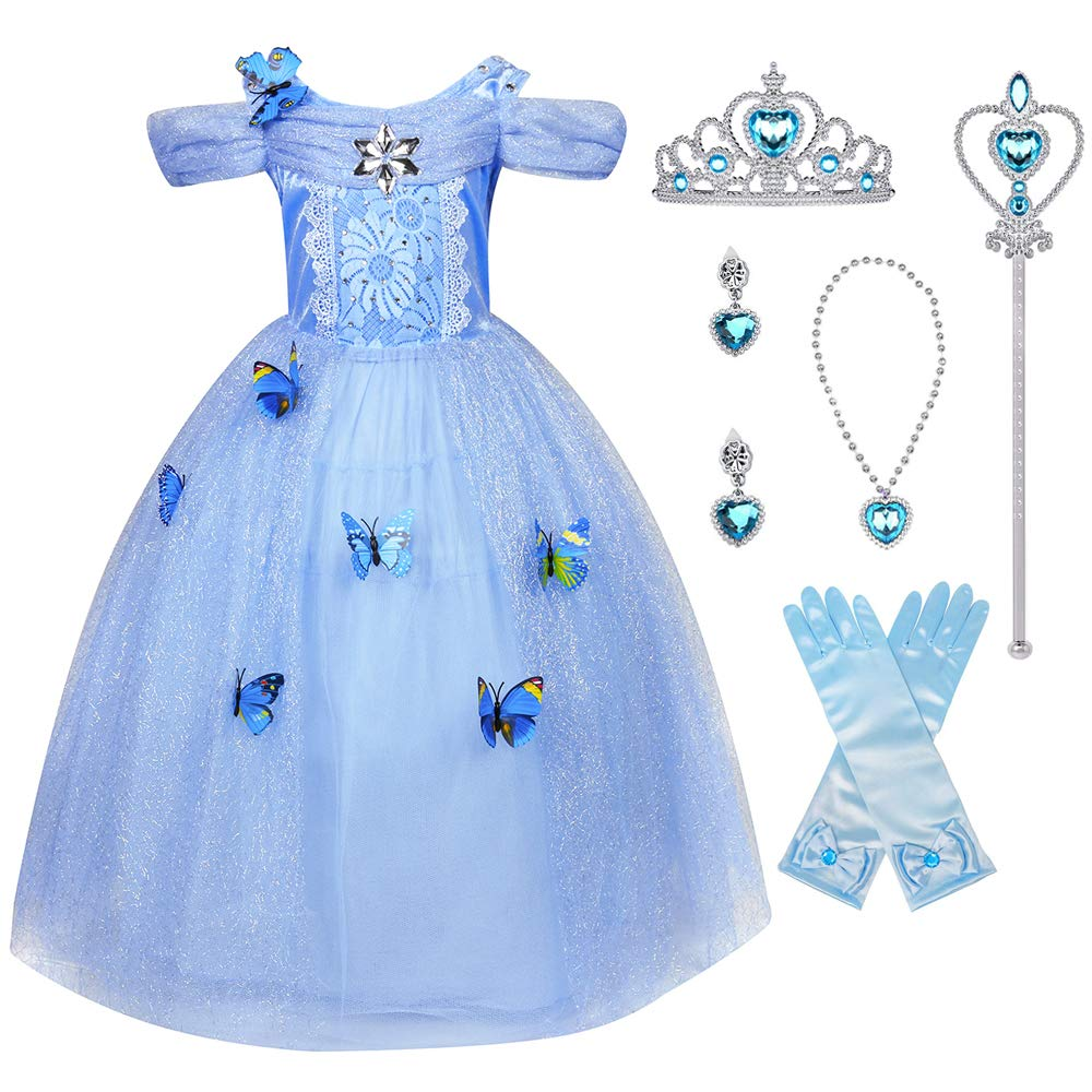 LENSEN Tech Little Girl Princess Cinderella Costume Butterfly Dress with Accessories(Cinderella with Accessories, 4-5 Years)