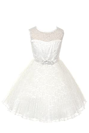 6354ffb2ac0 Amazon.com  JM DREAMLINE Lovely Tulle Pleated Lace Flower Girl Dress ...