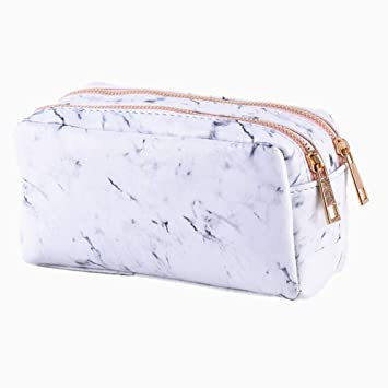 9f29e662a4e7 Amazon.com   Newest Marble Makeup Bag With 2 Compartments