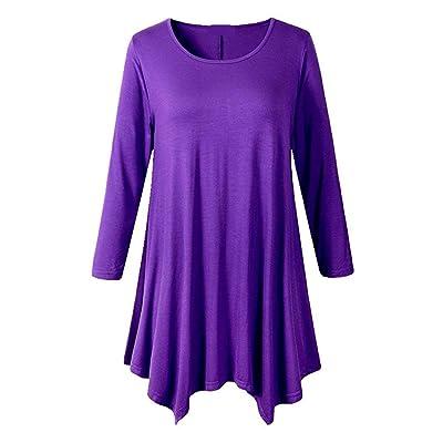 Camisas Mujer Verano Elegantes Casual Festival Cómodo Fit Camisas de Moda Mangas 3/4 Tops Cuello Redondo Shirts Colores Sólidos Irregular Hem Camisa (Color : Violett, Size : XL): Ropa y accesorios