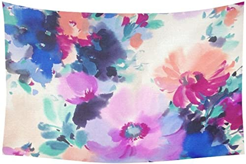 D-Story Custom Wall Tapestry WaterColor Flower Cotton Linen Tapestry Wall Hanging 40x 60
