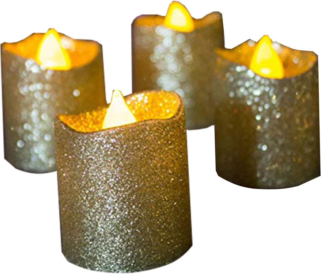 Gold Flameless Votive Candles,24 Pack Battery Operated Gold Glitter Flickering Fake LED Tea Lights for Wedding Centerpieces,Table,Anniversary,Outdoor,Christmas Decorations