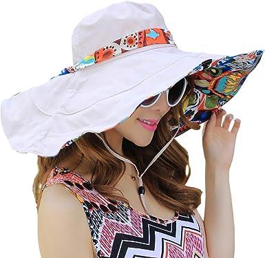 Womens UPF50 Foldable Summer Straw Hat Wide Brim Flower Sun Beach hat Visor