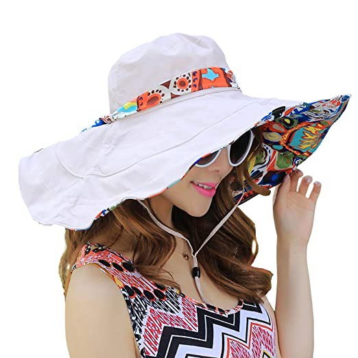 96e5a179f07d7 WITERY Floppy Summer UPF50+ Foldable Sun Beach Hats Accessories Wide Brim  for Women Beige
