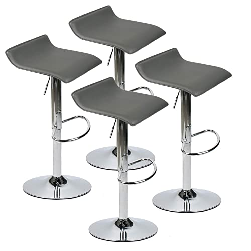 Set of 4 Adjustable Swivel Barstools, PU Leather with Chrome Base, Gaslift Pub Counter Chairs,Grey