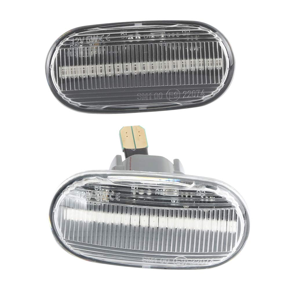 color /ámbar luces indicadoras de direcci/ón 1 par OZ-LAMPE LED luces de giro marcadoras laterales para HOND-A Civic Del Sol S2000 Acur-a Integra Lente ahumada