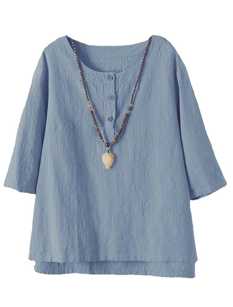 Minibee Women's 3/4 Sleeve Cotton Linen Jacquard Blouses Top T-Shirt (2XL, Blue)