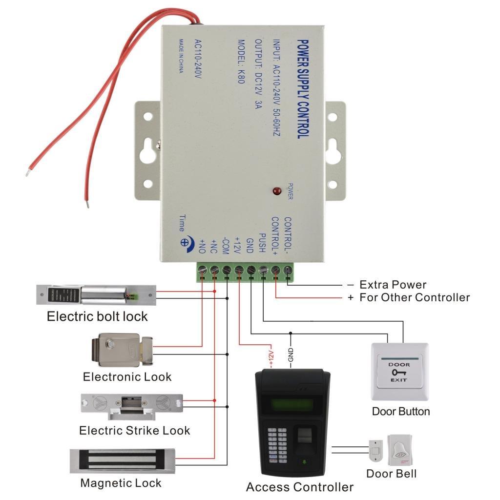 Baoblaze 1000人 指紋  5個 キーフォブ RFIDカード ドアアクセスコントロールロック B07D745982
