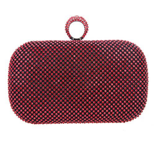 (Fawziya Knuckle Clutch Purses For Women Clutches And Evening Bags-Red)
