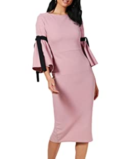 Women Vintage Casual Solid Bell Sleeve Round Neck Bodycon Party Dress Pink L