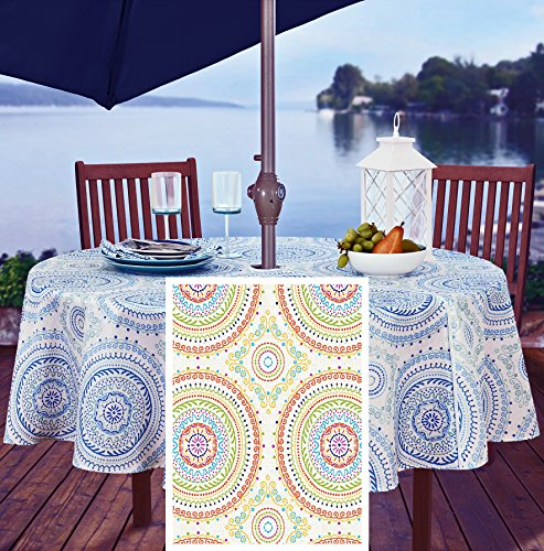 New Tablecloth - Circle Stitch Contemporary Print Indoor/Outdoor Soil Resistant Fabric Tablecloth - 70 Inch Umbrella Hole Zipper Round, Multi