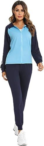 Ensemble de V/êtements de Sport Casual Sportswear Classique /à la Mode Femme Sweat Zipp/é sans Capuche Femme+ Pantalon Longue Combinaison de Sport dhiver Doaraha Ensemble de Costume de Sport Femme