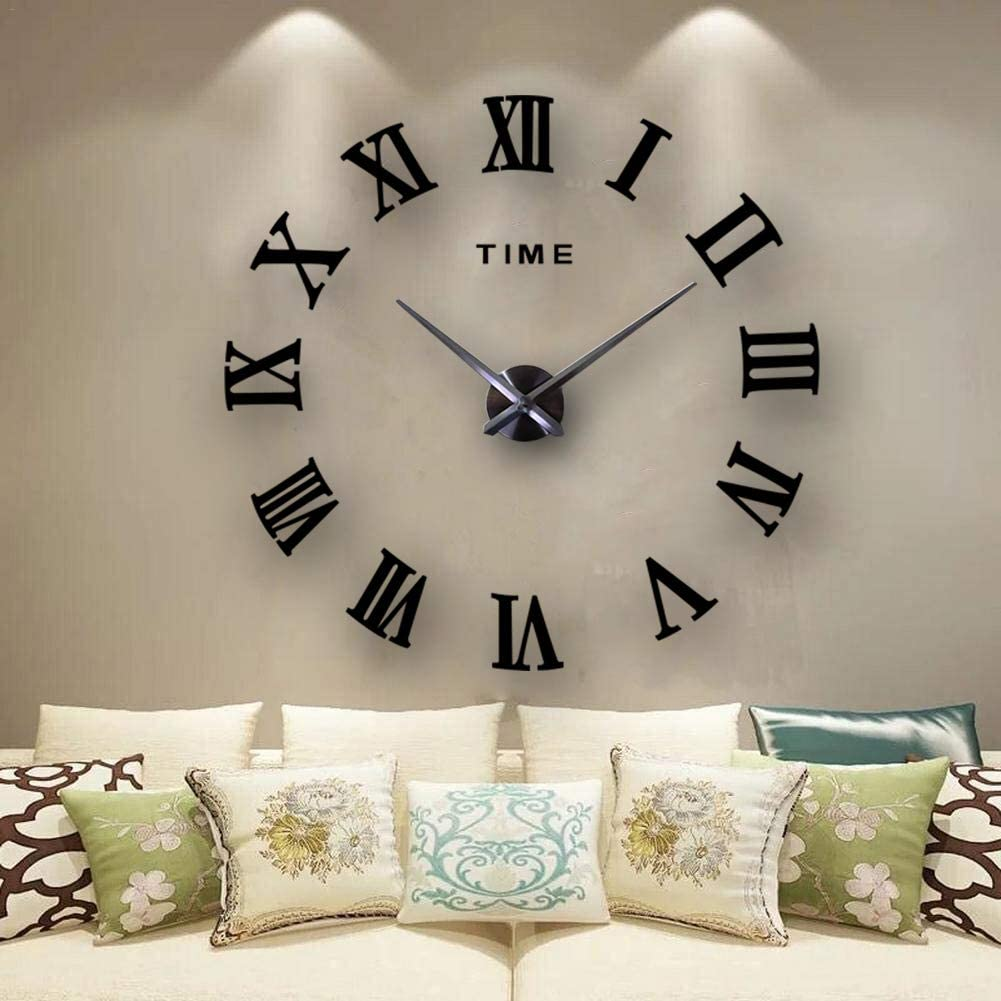 Amazon Com Frameless 3d Diy Wall Clock Mirror Surface Decorative Clock Large Wall Sticker Clock For Living Room Bedroom Office Home Decorations Black Home Kitchen