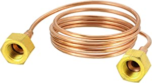 "uxcell Refrigeration Tubing, 1/8"" OD x 3.3Ft Length Copper Tubing Soft Coil with Metal Brass Tube Fitting"
