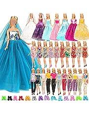 Miunana 15 Klänningar Kläder + 10 St Skor För Barbie 11,5 Tum Docka 28-30 cm Docka